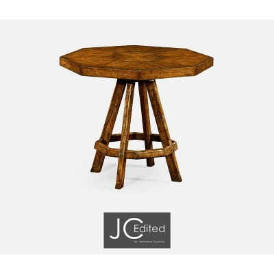 Jonathan Charles Country Walnut Side Table with Octagonal Top