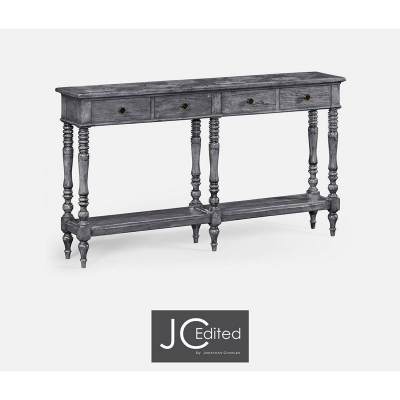 Jonathan Charles Antique Dark Grey Parquet Double Console with Distress