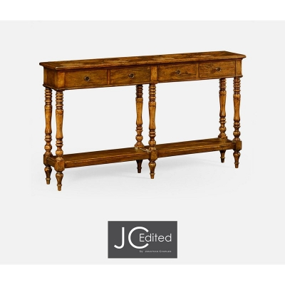 Jonathan Charles Country Walnut Parquet Double Console with Distress