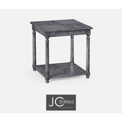 Jonathan Charles Antique Dark Grey Parquet Square Lamp Table with Contrast Inlay