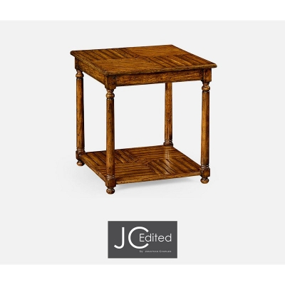 Jonathan Charles Country Walnut Parquet Square Lamp Table with Contrast Inlay