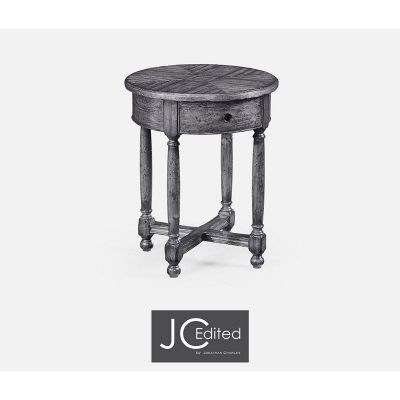 Jonathan Charles Antique Dark Grey Parquet Round Side Table with Contrast Inlay