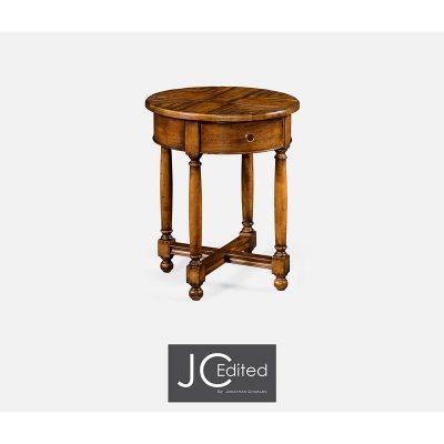 Jonathan Charles Country Walnut Parquet Round Side Table with Contrast Inlay