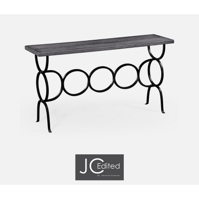 Jonathan Charles Antique Dark Grey Style Console with Wrought Iron Base