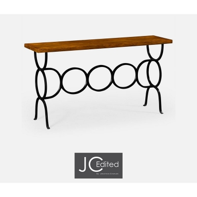 Jonathan Charles Country Walnut Console with Wrought Iron Base