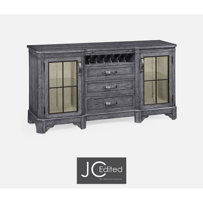 Jonathan Charles Plank Antique Dark Grey Low Cabinet and Wine Rack with Strap Handles