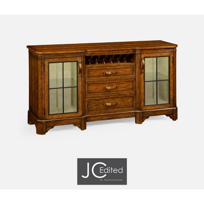 Jonathan Charles Plank Country Walnut Low Cabinet and Wine Rack with Strap Handles