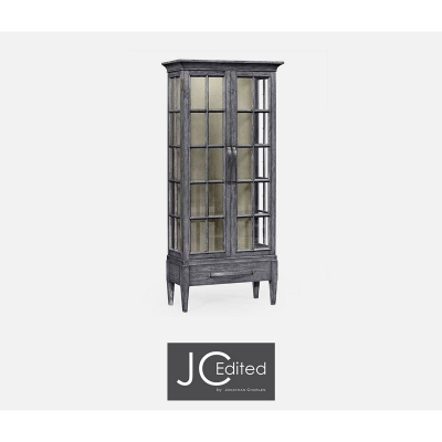Jonathan Charles Plank Antique Dark Grey Tall Glazed Bookcase with Strap Handles On Raised Base