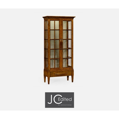 Jonathan Charles Plank Country Walnut Tall Glazed Bookcase with Strap Handles On Raised Base
