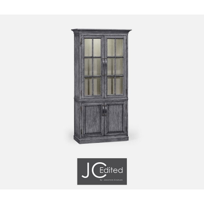 Jonathan Charles Plank Antique Dark Grey Tall Bookcase with Strap Handles