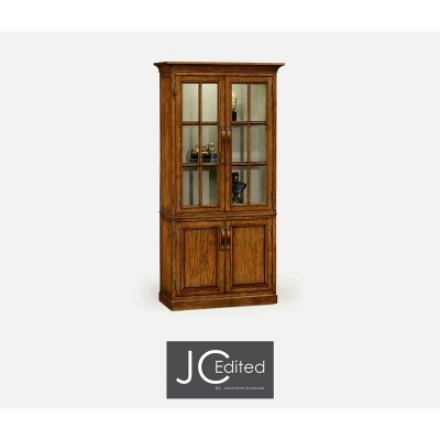 Jonathan Charles Plank Country Walnut Tall Bookcase with Strap Handles