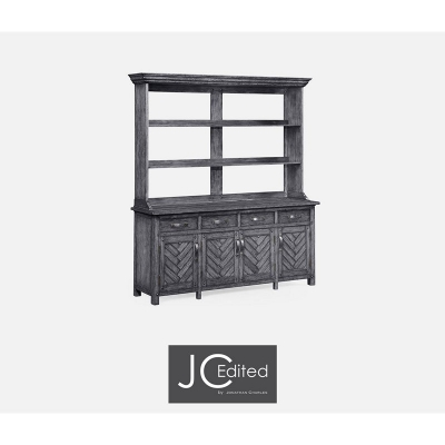 Jonathan Charles Antique Dark Grey Parquet Welsh Dresser with Strap Handles