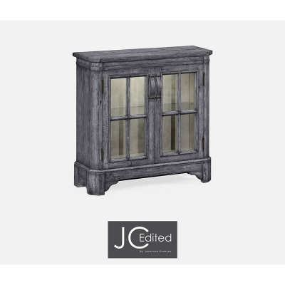 Jonathan Charles Antique Dark Grey Plank Low Bookcase with Strap Handles