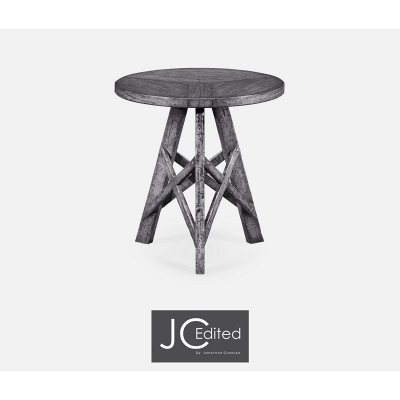 Jonathan Charles Antique Dark Grey Lamp Table with Circular Top
