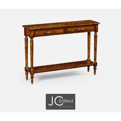 Jonathan Charles Country Walnut Parquet Console with Distress