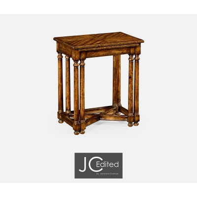 Jonathan Charles Country Walnut Parquet Nesting Tables with Contrast Inlay