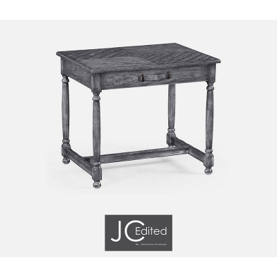 Jonathan Charles Antique Dark Grey Parquet Rectangular Side Table with Contrast Inlay