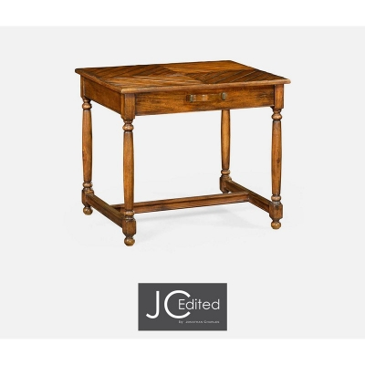 Jonathan Charles Country Walnut Parquet Rectangular Side Table with Contrast Inlay