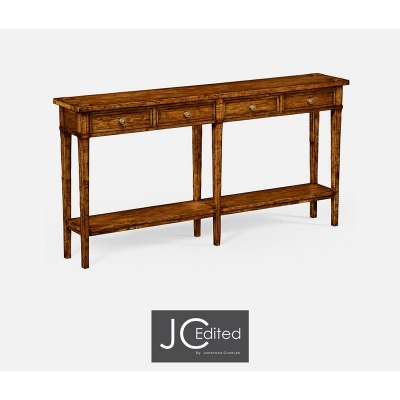 Jonathan Charles Country Walnut Four Drawer Console