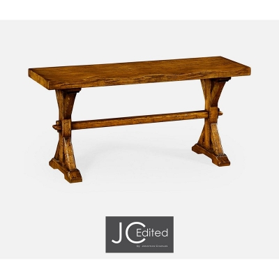 Jonathan Charles Narrow Solid Country Walnut Topped Bench