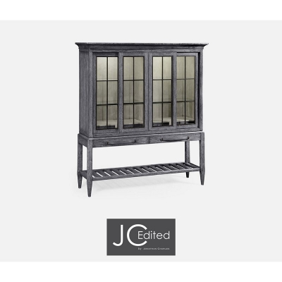 Jonathan Charles Plank Antique Dark Grey Glazed Display Double Cabinet