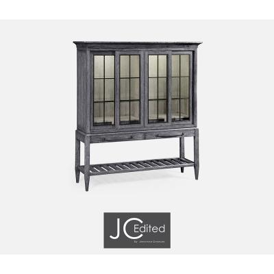 Jonathan Charles Plank Antique Dark Grey Glazed Display Double Cabinet