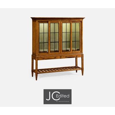 Jonathan Charles Plank Country Walnut Glazed Display Double Cabinet