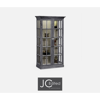 Jonathan Charles Plank Antique Dark Grey Fully Glazed Bookcase with Strap Handles