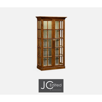 Jonathan Charles Plank Country Walnut Fully Glazed Bookcase with Strap Handles