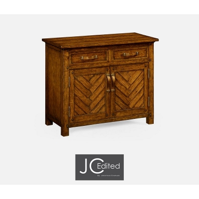 Jonathan Charles Plank Country Walnut Cabinet Or Dresser Base with Strap Handles