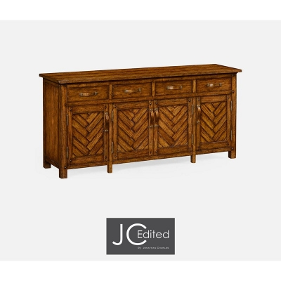 Jonathan Charles Country Walnut Parquet Sideboard with Strap Handles