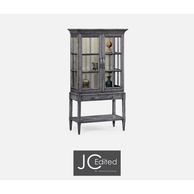 Jonathan Charles Antique Dark Grey Glazed Display Cabinet with Strap Handles