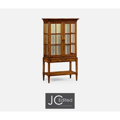 Jonathan Charles Country Walnut Glazed Display Cabinet with Strap Handles