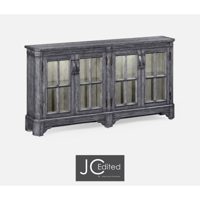 Jonathan Charles Antique Dark Grey Parquet Welsh Bookcase with Strap Handles