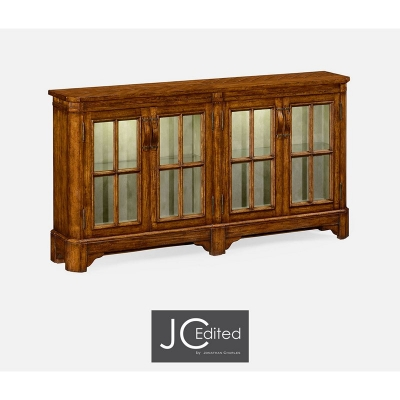 Jonathan Charles Country Walnut Parquet Welsh Bookcase with Strap Handles
