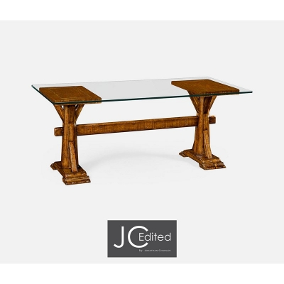 Jonathan Charles Walnut Country Desk with Glass Top