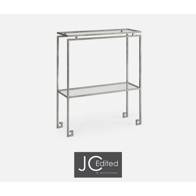 Jonathan Charles Silver Iron Small Narrow Console Table