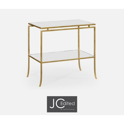 Jonathan Charles Gilded Iron Rectangular Side Table