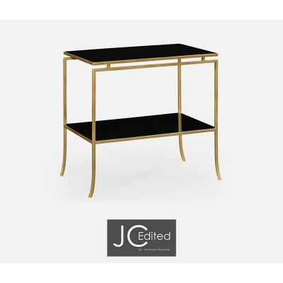 Jonathan Charles Gilded Iron Rectangular Side Table