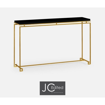 Jonathan Charles Gilded Iron Large Console Table with Smoky Black Top