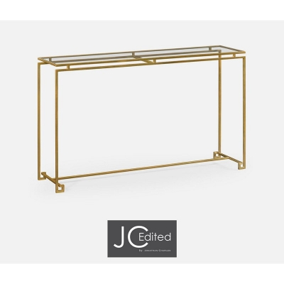 Jonathan Charles Gilded Iron Large Console Table