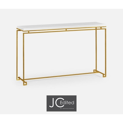 Jonathan Charles Gilded Iron Large Console Table with Biancaneve Top