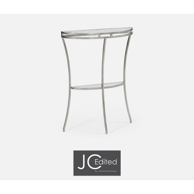 Jonathan Charles Silver Iron Demilune Console Table