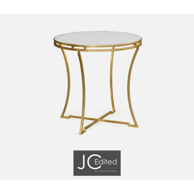 Jonathan Charles Gilded Iron Round Side Table