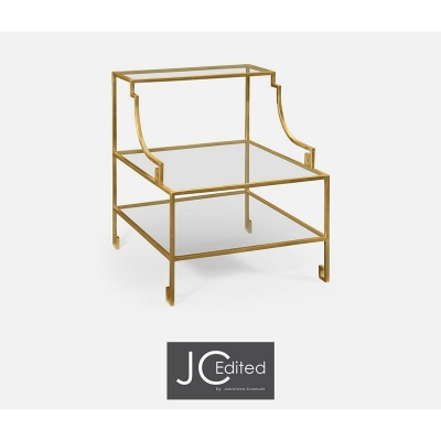 Jonathan Charles Three Tier Gilded Iron End Table
