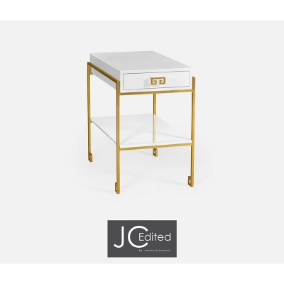 Jonathan Charles Gilded Iron End Table with Biancaneve Drawer