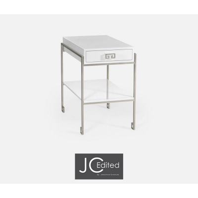 Jonathan Charles Silver Iron End Table with Biancaneve Drawer