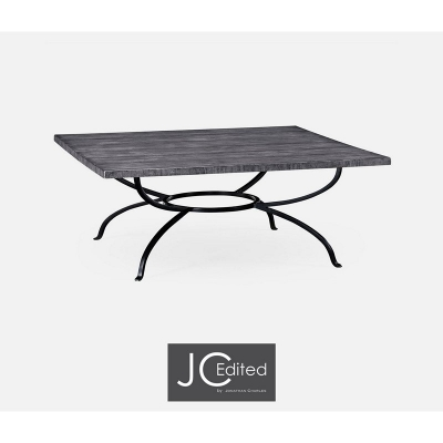 Jonathan Charles Antique Dark Grey Style Panelled Square Coffee Table