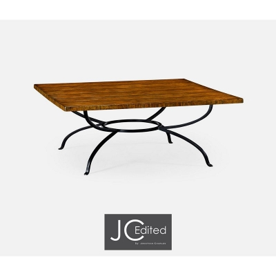 Jonathan Charles Country Walnut Style Panelled Square Coffee Table