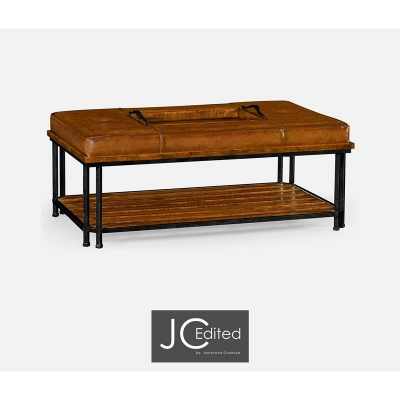 Jonathan Charles Country Walnut Cocktail Ottoman